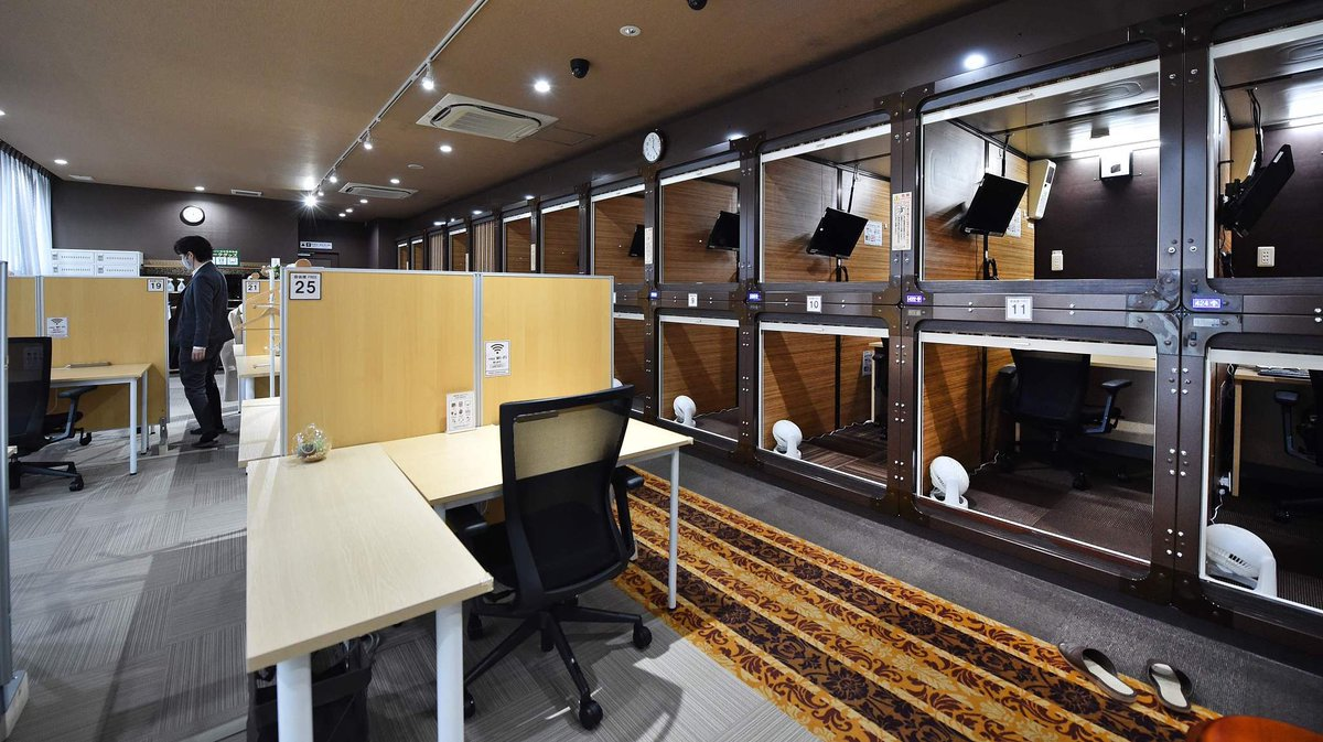 """Japanese capsule hotels reinvent themselves as """"capsule offices""""."""