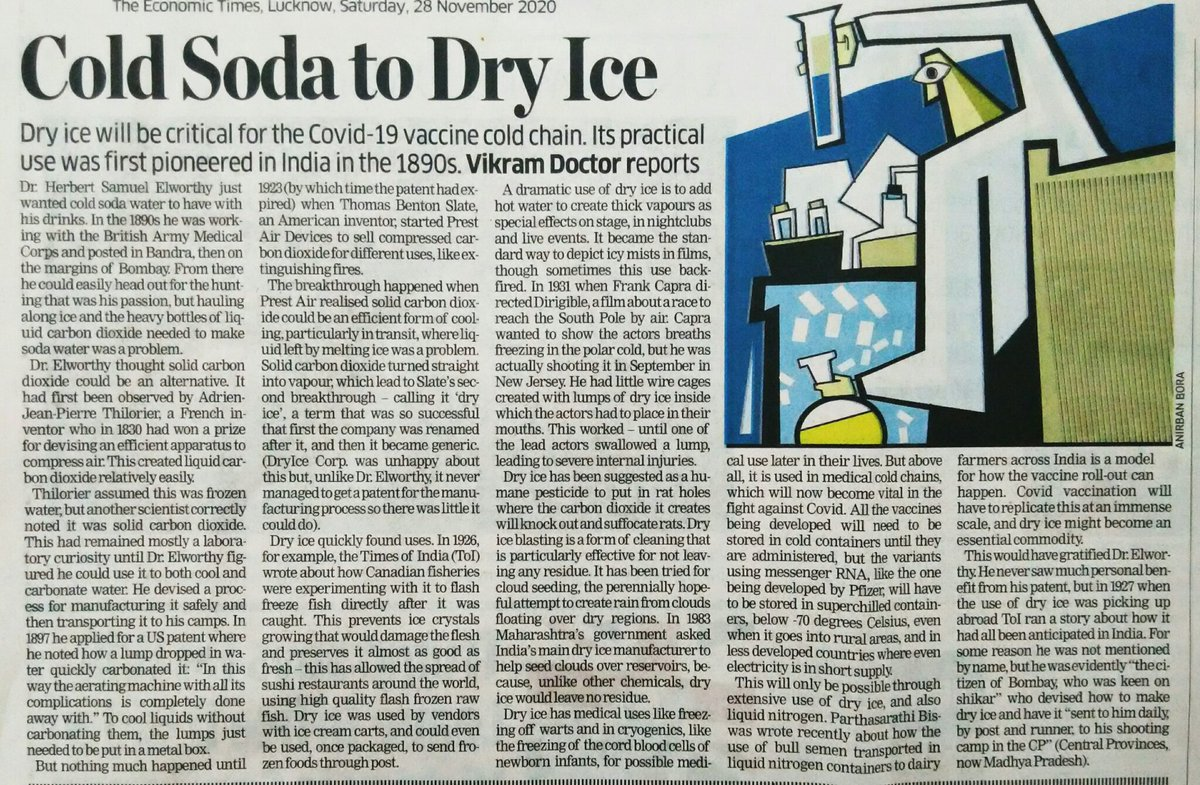 Nice column on history of #DryIce (Solid #CarbonDioxide), which may perhaps turn out to be as sought after as the #Coronavirus #vaccine itself!  #SaturdayThoughts #SundayMorning
