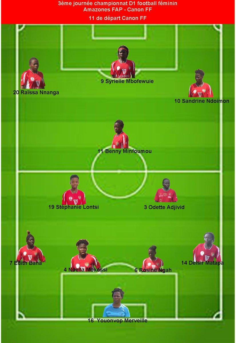 #GUINNESSSUPERLEAGUE #TOPMATCH  3eme journée  #AMAZONEFAP 🆚 #CANONFILLES  Les 11 entrants des deux équipes.  📆 28 Novembre 2020 ⏲️ 15H00 🥅 Annexe 1 Stade Omnisports de Yaoundé  #LiveOnCanal2