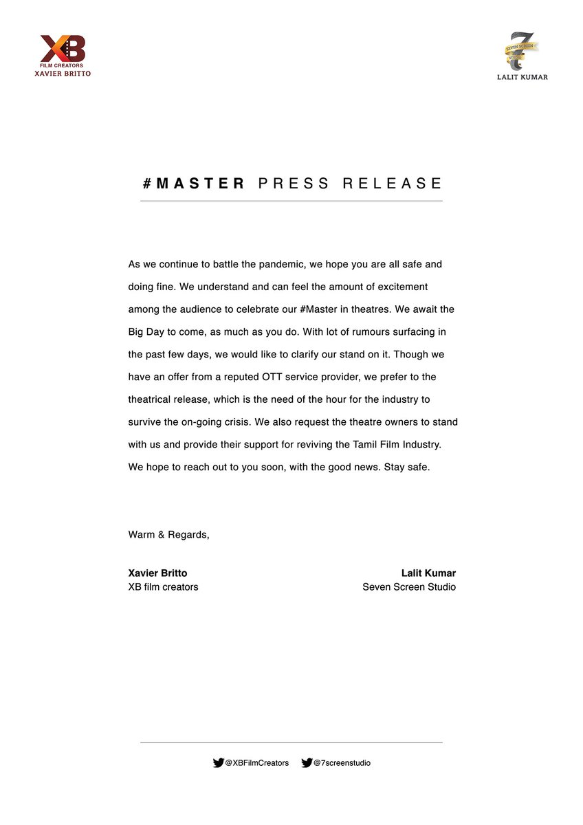#MasterPressRelease   A Big movie like #Master needs Theatrical experience..   That too now, as the theatres are re-opening, they need a Biggie to attract the audience..   Right decision..   @actorvijay  @Dir_Lokesh @XBFilmCreators @Jagadishbliss @Lalit_SevenScr  @RIAZtheboss