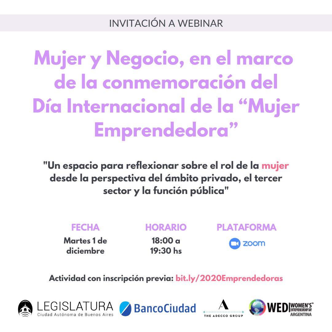 """El próximo martes 1 de diciembre los espero en el evento """"Mujer y Negocio"""", en el marco de la conmemoración por el Día Internacional de la Mujer Emprendedora.  🗣 @ceciliaribecco, @Pabloliotti, @P_Villalba y @msolmendez. 🕑 18 hs. 🔗 https://t.co/mpqVGFxUCT https://t.co/tdhDOVHP1S"""