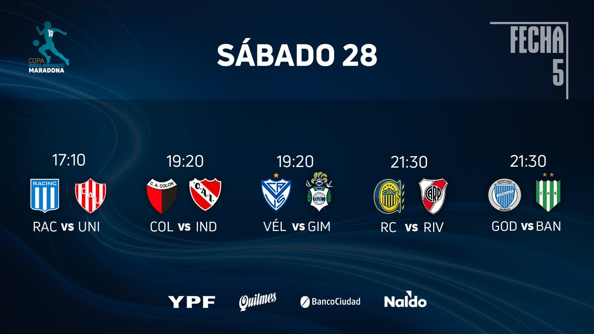Jogos de hoje pela #CopaDiegoMaradona.  Racing vs. Unión de Santa Fé - 17:10H; Colón vs. Independiente - 19:20H; Vélez Sarsfield vs. Gimnasia y Esgrima LP - 19:20H; Rosario Central vs. River Plate - 21:30H; Godoy Cruz vs. Banfield - 21:30H; https://t.co/kEVQ5veEls