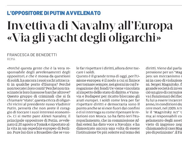 Still waiting for the #EU #Magnitsky Act... ➡️ https://t.co/ba3Tyo27bz #Navalny #Russia #Europe @DomaniGiornale https://t.co/pxfQCDPIrV