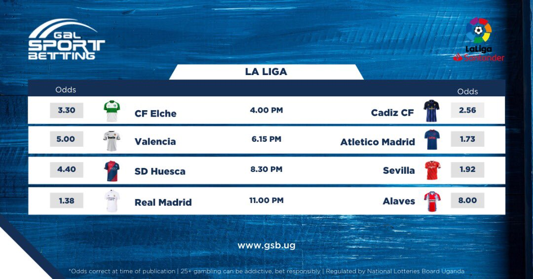 FIXTURES FROM LA LIGA ACTIONS   CF Elche game's who sits 10th in the league in the early kick off ended in a 1 - 1 Draw against Cadiz   Register & bet on the rest of the games here: 👉🏻 https://t.co/qTTO7a8jIC  #ZeroIsHere #GameOnlineBetting https://t.co/SWmPAOpm85