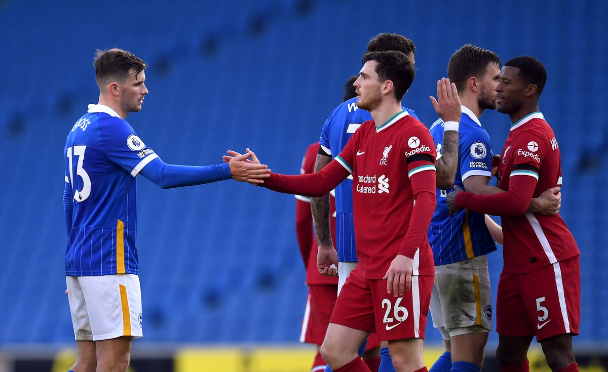 Liverpool's form away from home in the Premier League:  🤝 1-1 vs Brighton 🤝 1-1 vs Manchester City 🤝 2-2 vs Everton ❌ 2-7 vs Aston Villa ✅ 2-0 vs Chelsea  They've picked up just six points from a possible 15. #PL | #BHALIV https://t.co/X2MsWYEE44