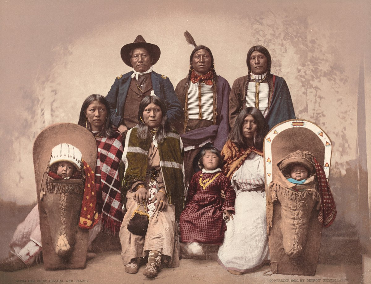 "(1/2) This photolithograph shows Chief Severo, leader of the Caputa band of the Southern Ute tribe, with his family. Taken in 1885 by the Detroit Publishing Co, the image misspelled the Chief & captain of Indian Police in its original inscription, listing him as ""Chief Sevara"" https://t.co/5ni8yV2IoI"