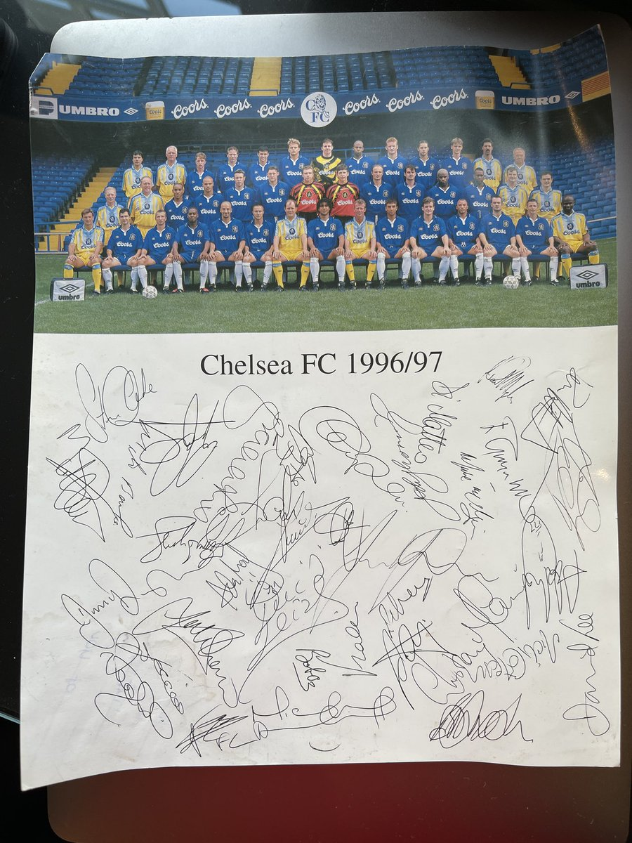 Rummaging through old files and found this amazing signed photo of the entire @ChelseaFC team from 1996/97  some true greats in here https://t.co/Uea7IOo7TO