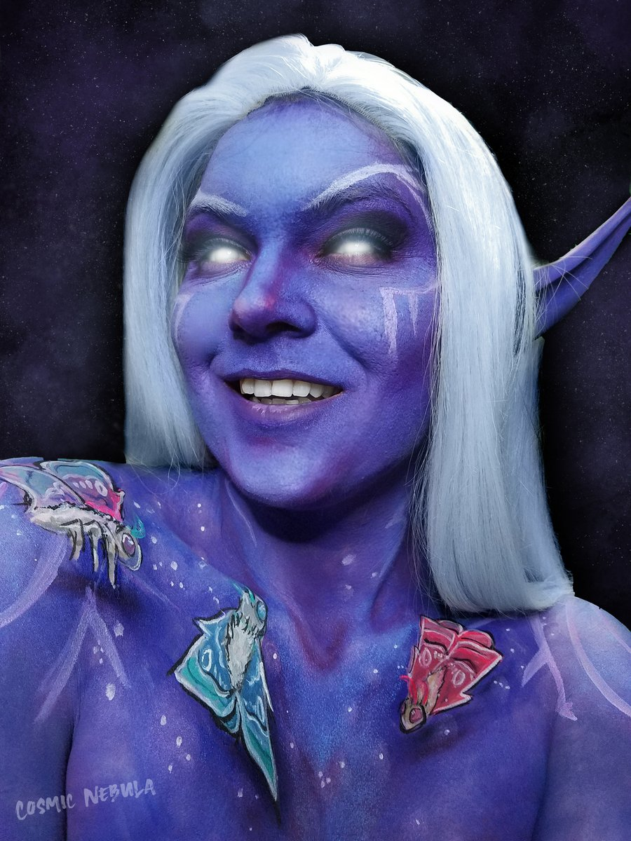 A Nightborne enjoying her time in Ardenweald from World of Worldcaft @Warcraft @Blizzard_Ent  Body paint! What covenant did you choose? #worldofwarcraft #bodypaint #twitch #makeup #nightborne #blizzardgaming #wow
