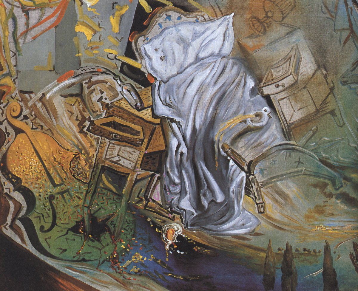 Bed and Two Bedside Tables Ferociously Attacking a Cello (Final Stage), 1983 #dali #spanishart