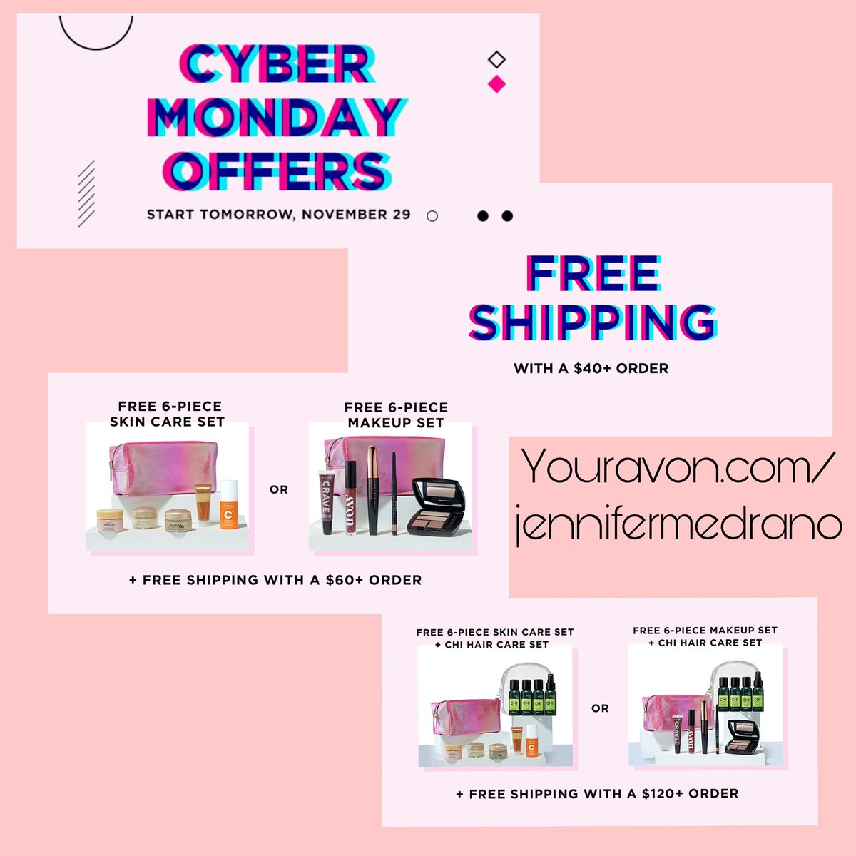 Sneak peak for cyber Monday deals!!   #CyberMonday #cyberMondaydeals #avon #makeup #skincare #haircare #fragrance #mensgifts #freeshipping #onlineshopping #shopsmall