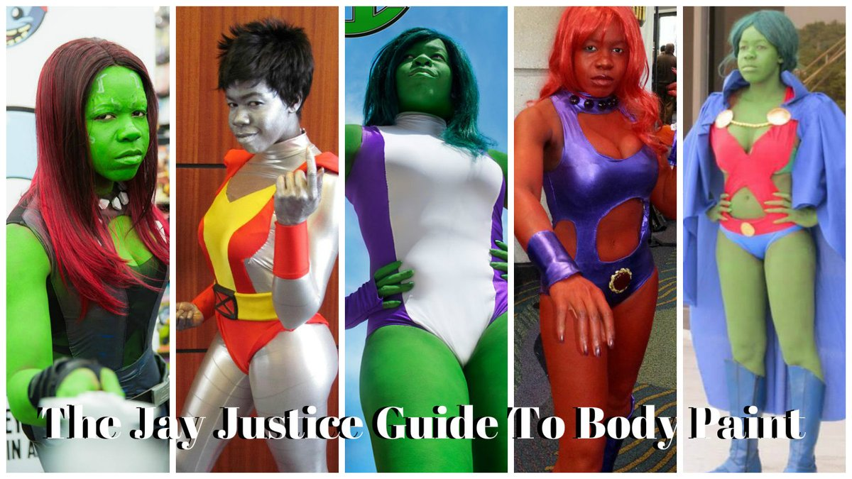 @JaharaTwitch @Marvel Sure! For my She-Hulk look, I used @mehronmakeup liquid green water-based liquid makeup and also their barrier spray. I am a big fan of Mehron products! They're well priced & go on very smooth with a nice finish. I use them all the time. #cosplay #bodypainting #makeup