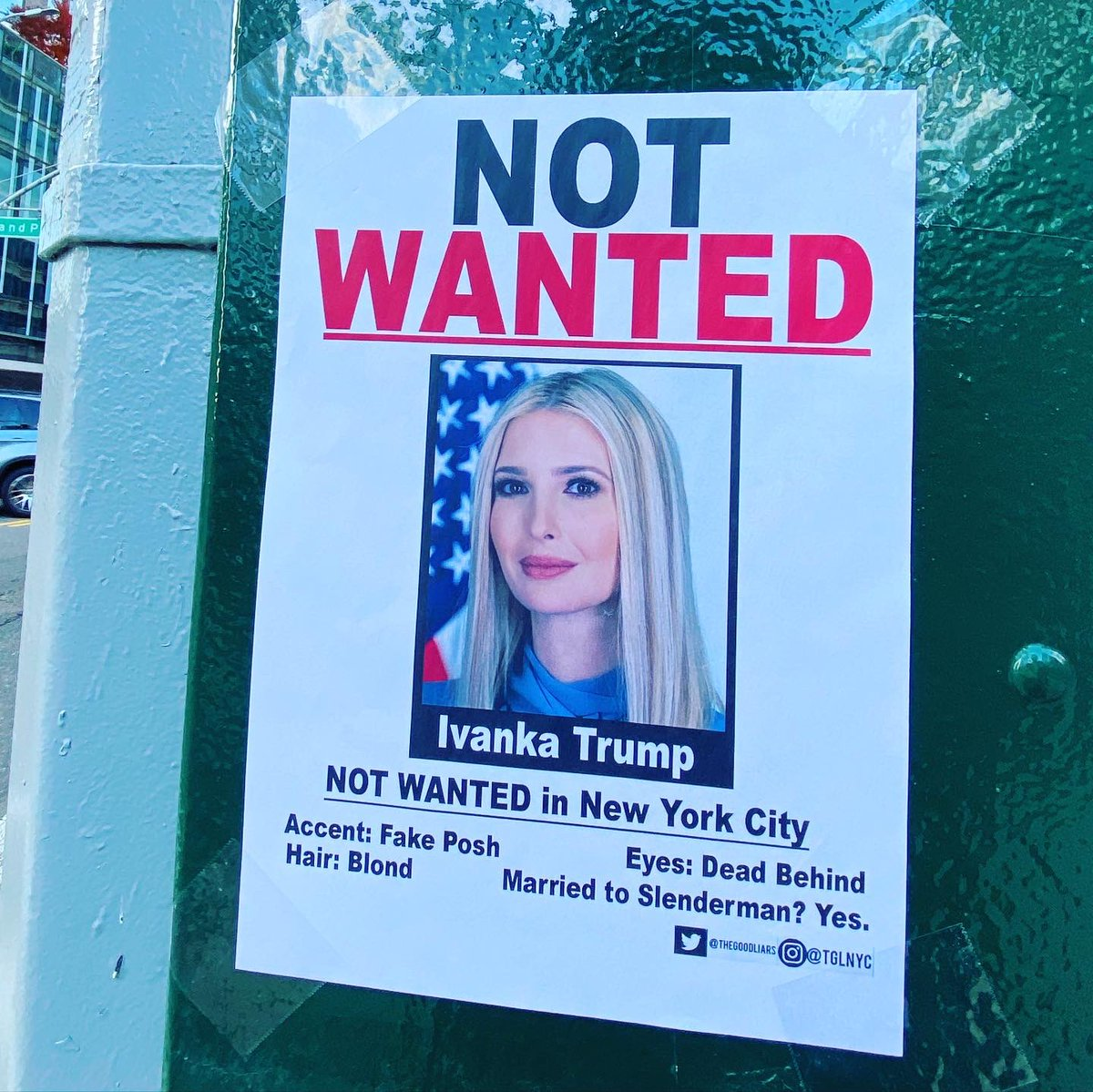 """""""Not Wanted: Ivanka Trump"""" signs are up in New York https://t.co/74Ft4vkePc"""