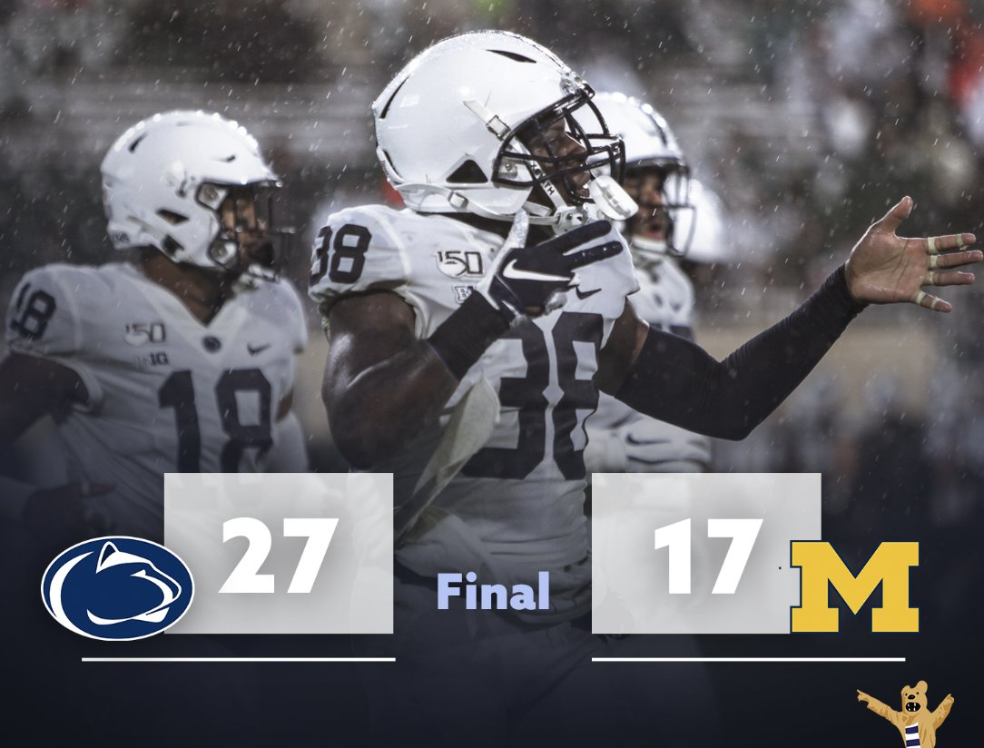 W.  @PennStateFball picks up its first win of the season and improves to 1-5.