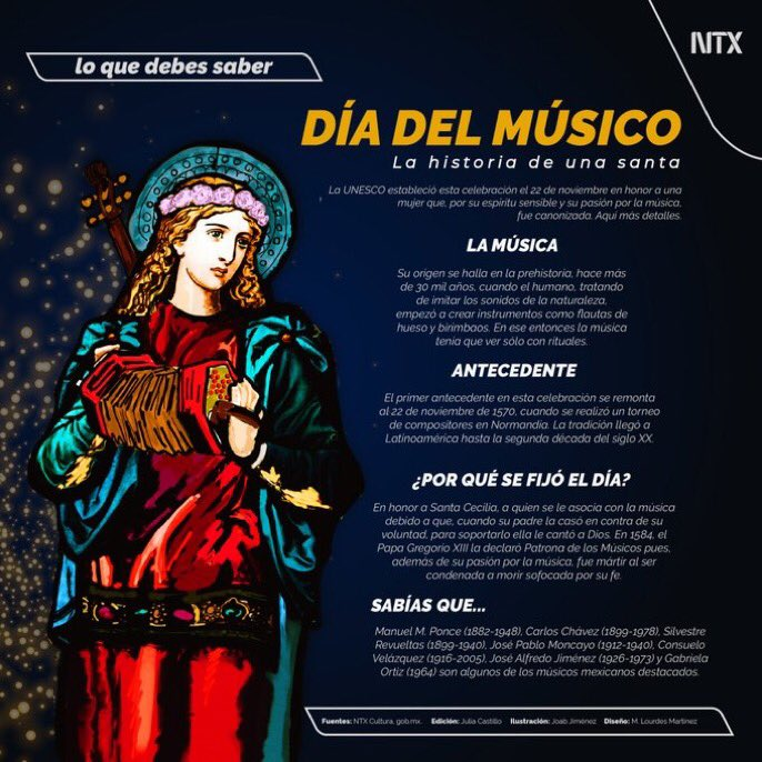 #LoQueDebesSaber   «Día del músico: La historia de una santa»   #Infografía de @Notimex https://t.co/3ej7I8EciH