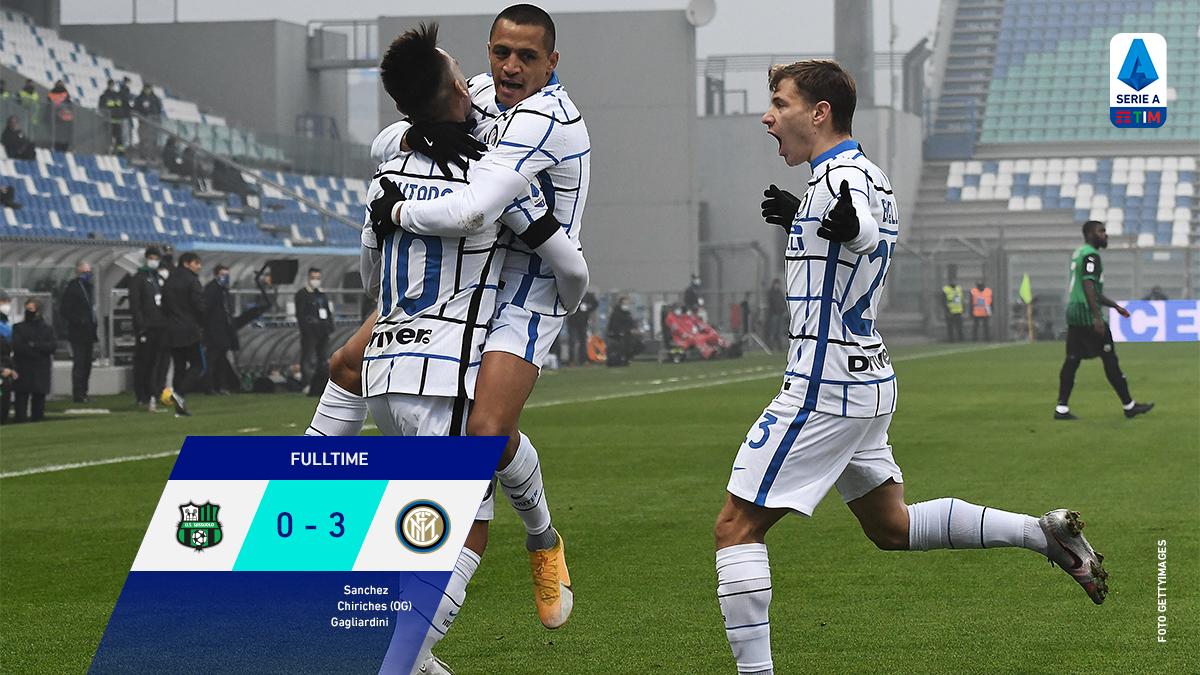 Game over in Reggio Emilia where thanks to the 3 goals @Inter takes home the win against @SassuoloUS!  #SassuoloInter #SerieATIM #WeAreCalcio