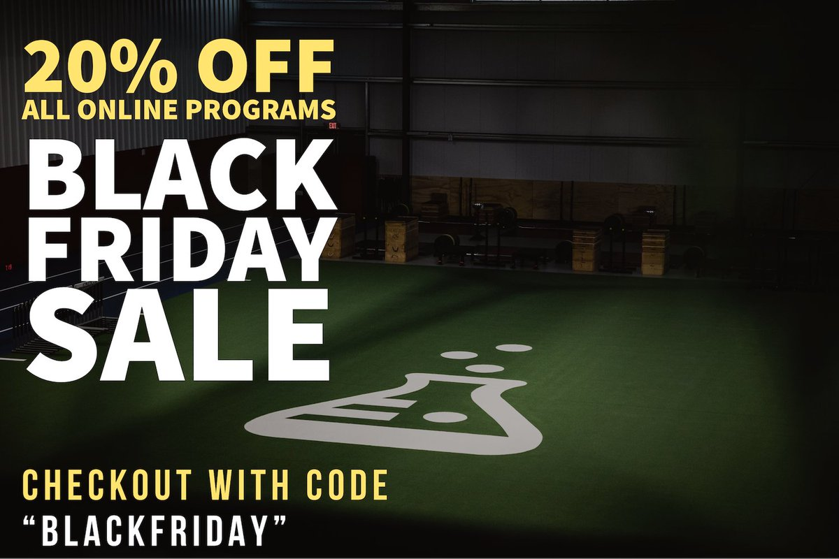"""We're offering 20% off all our online training plans. We have industry leading programs for #soccer, #trackandfield, #weightlifting #verticaljump and #strength. Use code """"BLACKFRIDAY"""" at checkout. https://t.co/AVJ0aFglV7 https://t.co/0KTrv4qci4"""