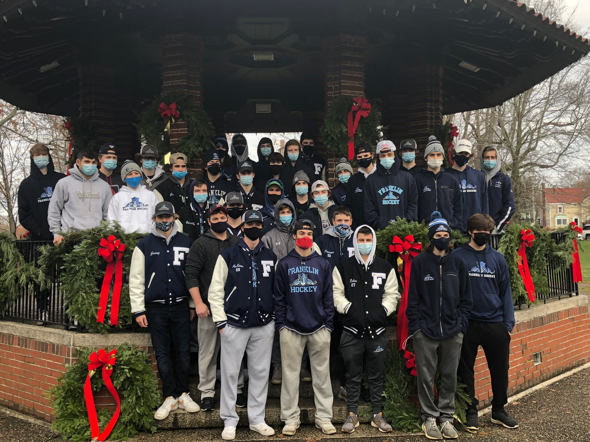 FHS Panther Hockey: annual decorating of the Town Common