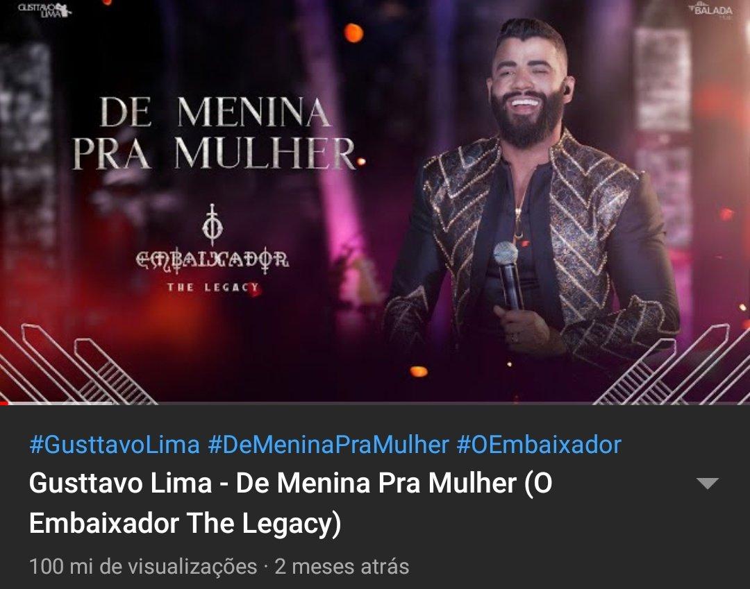 """O vídeo de """"De Menina Pra Mulher"""" alcançou 100 milhões de visualizações no YouTube, sendo o primeiro, a atingir a marca, de seu mais novo projeto """"Embaixador, The Legacy"""". 💥"""