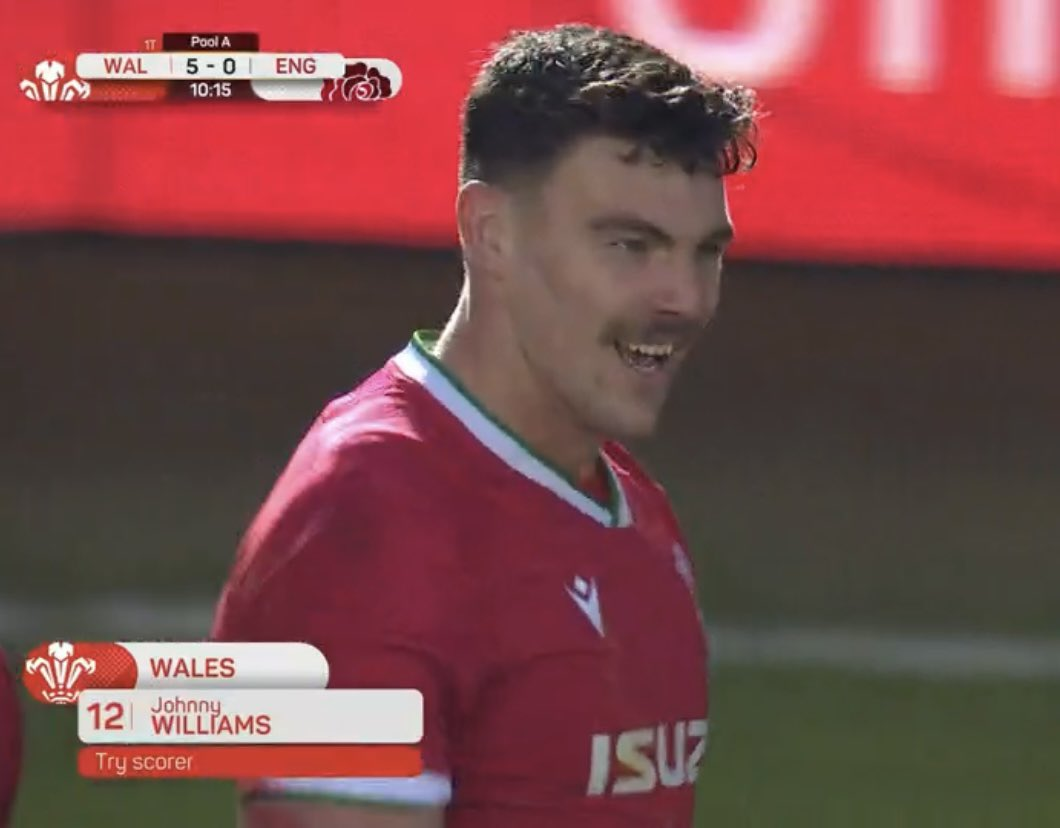 We don't want to take ALL the credit, but moustaches have been proven to improve a rugby players' chance of scoring a try by 300 percent... @Johnny_Wills0 👏🏼 #ENGvWAL