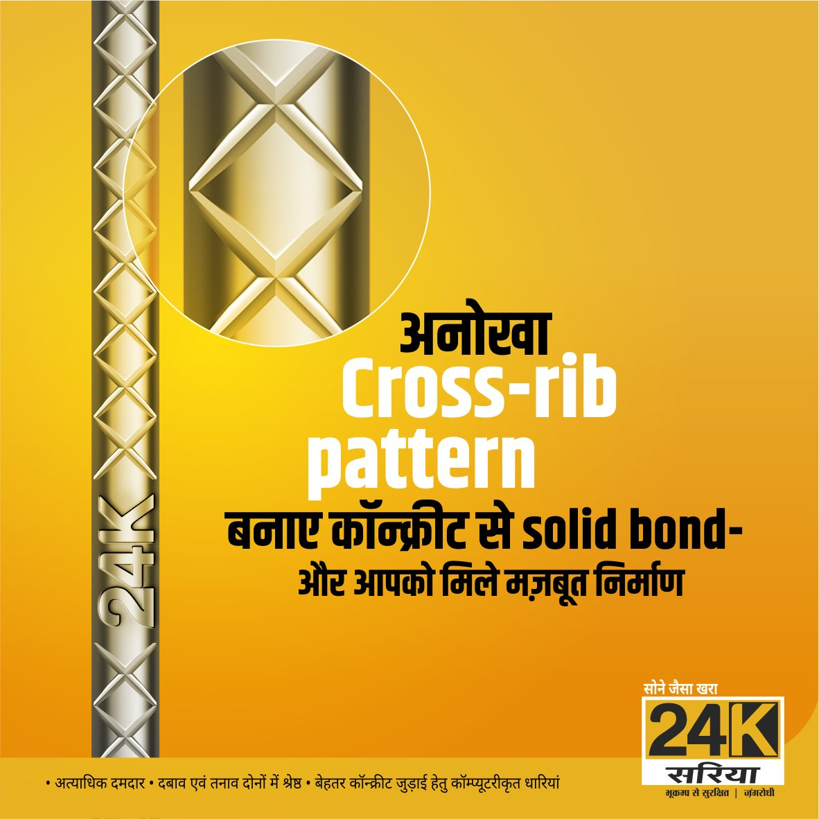 The unique 'X' Cross Rib pattern on TMT Bars ensures strong bonding with concrete thereby giving excellent strength for your structure. For your dream home use only the best, use 24K Sariya. _____________  #24K #Sariya #TMT #TMTsariya #Bonding #Strength #CrossRibPattern https://t.co/IVxpIJTLFl