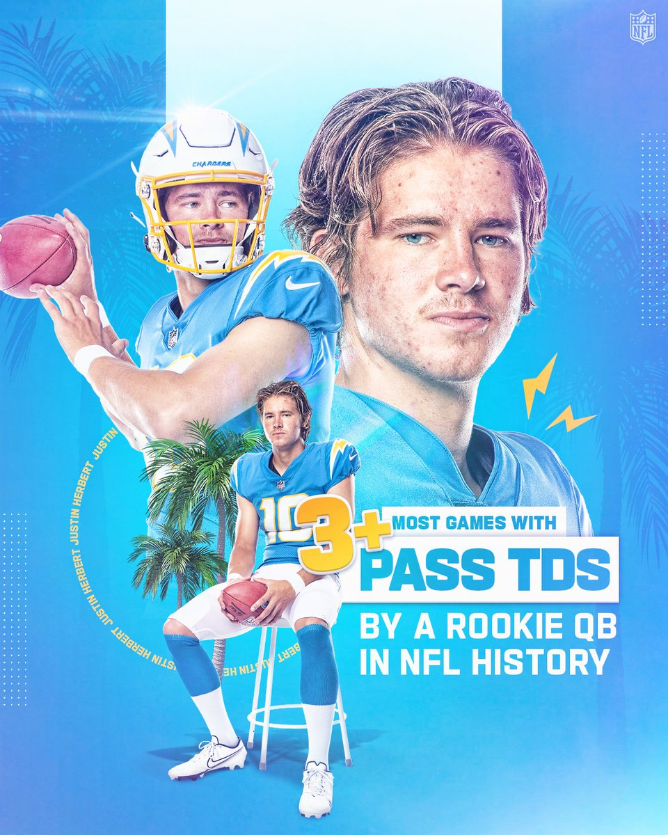 Making history in Year 1. ⚡️  @Chargers | #BoltUp   📺: #LACvsBUF -- Sunday 1pm ET on CBS 📱: NFL app // Yahoo Sports app https://t.co/3bYrBdta3Y