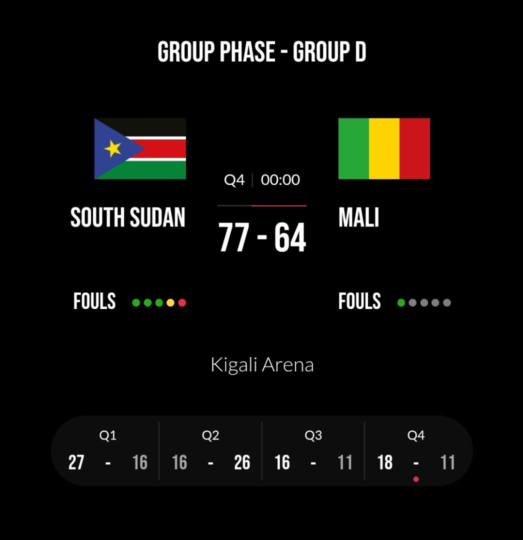 #Afrobasket #GroupD  #SouthSudan clinches their 1ts win over #Mali as they remain with one game against #Rwanda tomorrow https://t.co/v57KiFXTSR