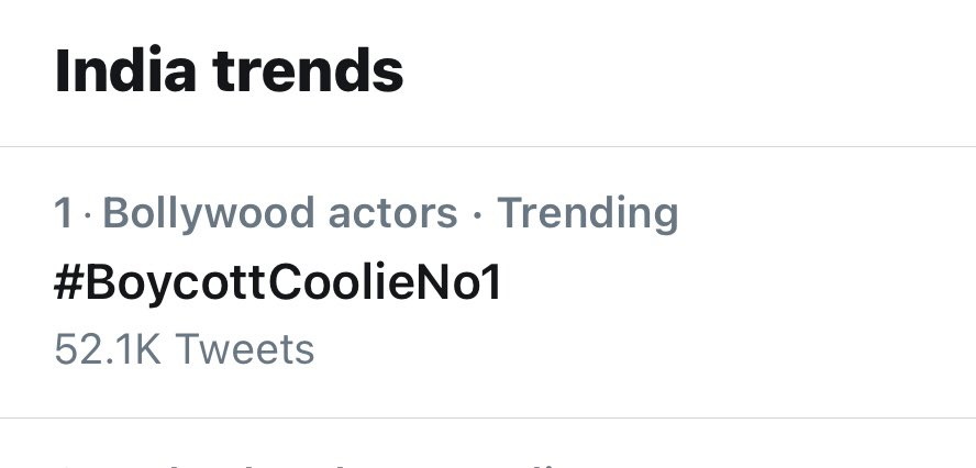 #BoycottCoolieNo1 Congratulations guys! We made it. Trending at no 1. Yes......