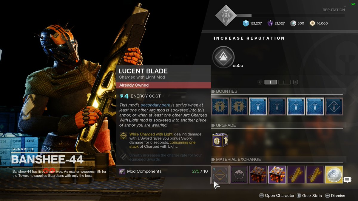 AyyItsChevy - LUCENT BLADE AT BANSHEE  GO BUY NOW!  Literally one of the best mods if using a sword and a Charged with Light build!  GO GO GO