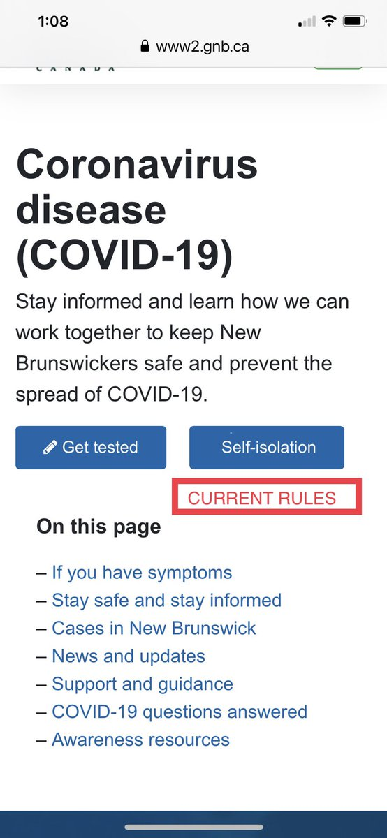 """@Gov_NB Can you please put a big red button on the main government Covid website  allied """"Current Rules"""" and then have it go to the next page with the details. It's really not obvious where that info is located at the moment. Should be easier for people to find this info. https://t.co/S8ppWf5w0R"""