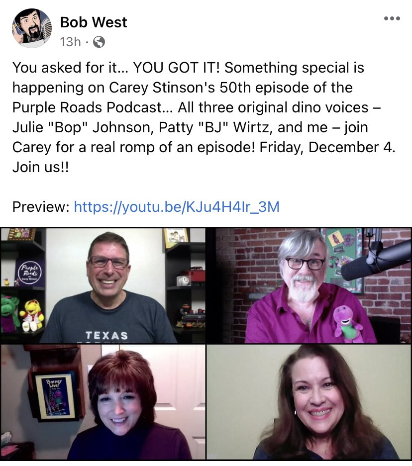 Y'all the original voices of barney are having a lil reunion zoom and i am SHOOK!!!