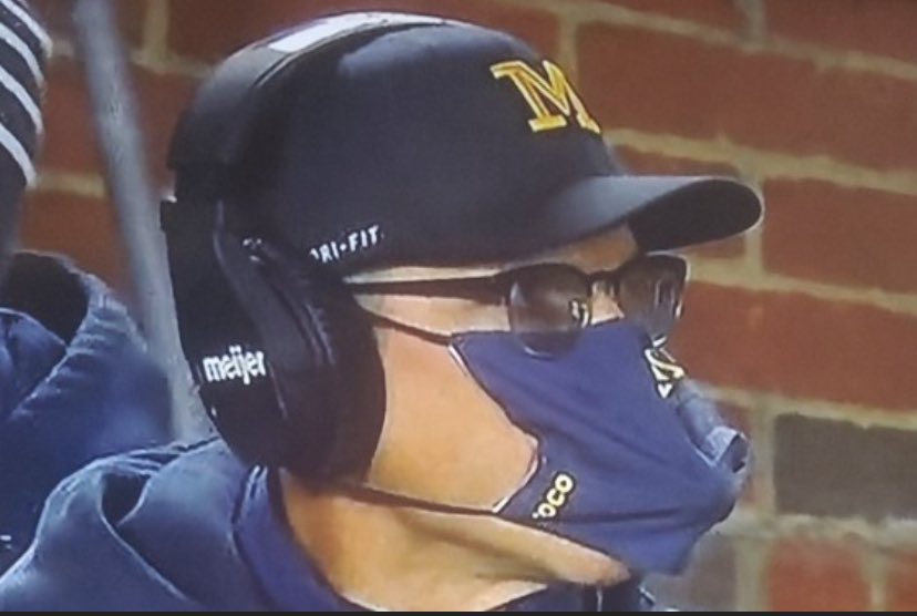 Initially I thought looking at Harbaugh with a mask on would be easier than just looking at him normal. True to typical Harbaugh though, I should never doubt any level of his stupidity... #ohiostatefootball #michiganfootball https://t.co/0YZVnMs3ET