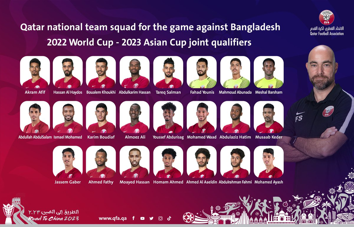 📋 #Qatar national team squad for the game against Bangladesh in the 2022 World Cup - 2023 Asian Cup joint qualifiers  #AsianQualifiers