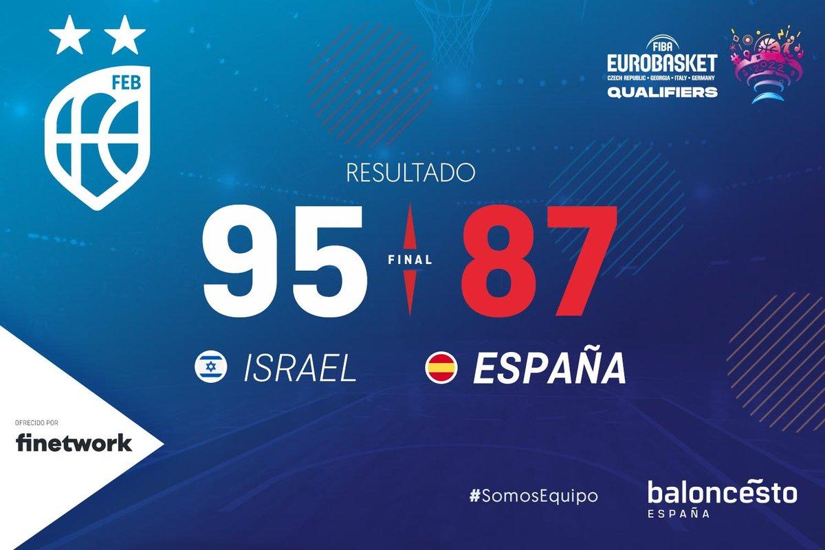 Estuvo cerca... El lunes una nueva OPORTUNIDAD para #LaFamilia 💪  🏆 Clasificación @EuroBasket 2022 🇮🇱🆚🇪🇸 (Final | 95-87) 📊   📷   #SomosEquipo