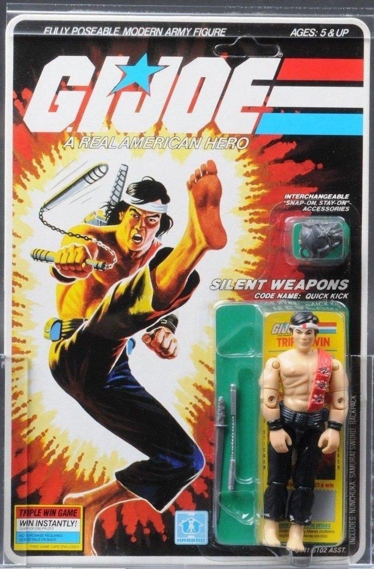 Silent Weapons. Code Name: QUICK KICK. First appeared on toy store shelves in 1986.