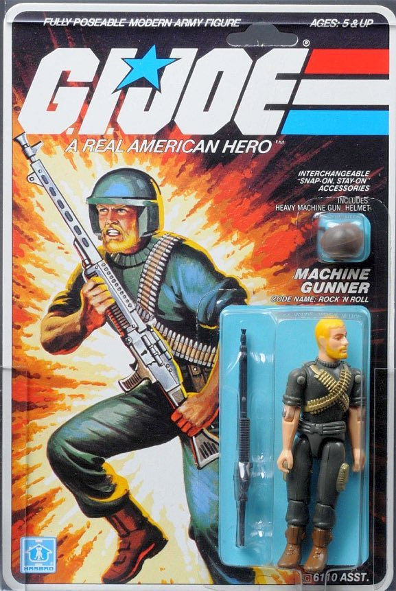 Machine Gunner. Code Name: ROCK'N'ROLL. First appeared on toy store shelves in 1982.