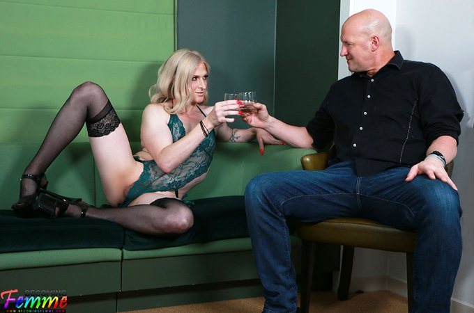 1 pic. sultry blonde sissy @AnnikaJones_ seduces lucky stud @christianxxx1 as she gets fucked hard bareback