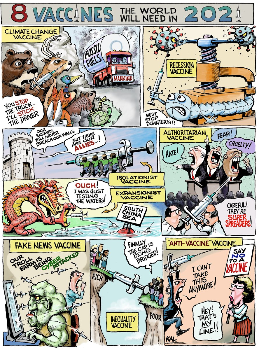 """Kevin Kal Kallaugher on Twitter: """"Other Vaccines we need in 2021  @TheEconomist #Vaccines #satire #cartoons… """""""
