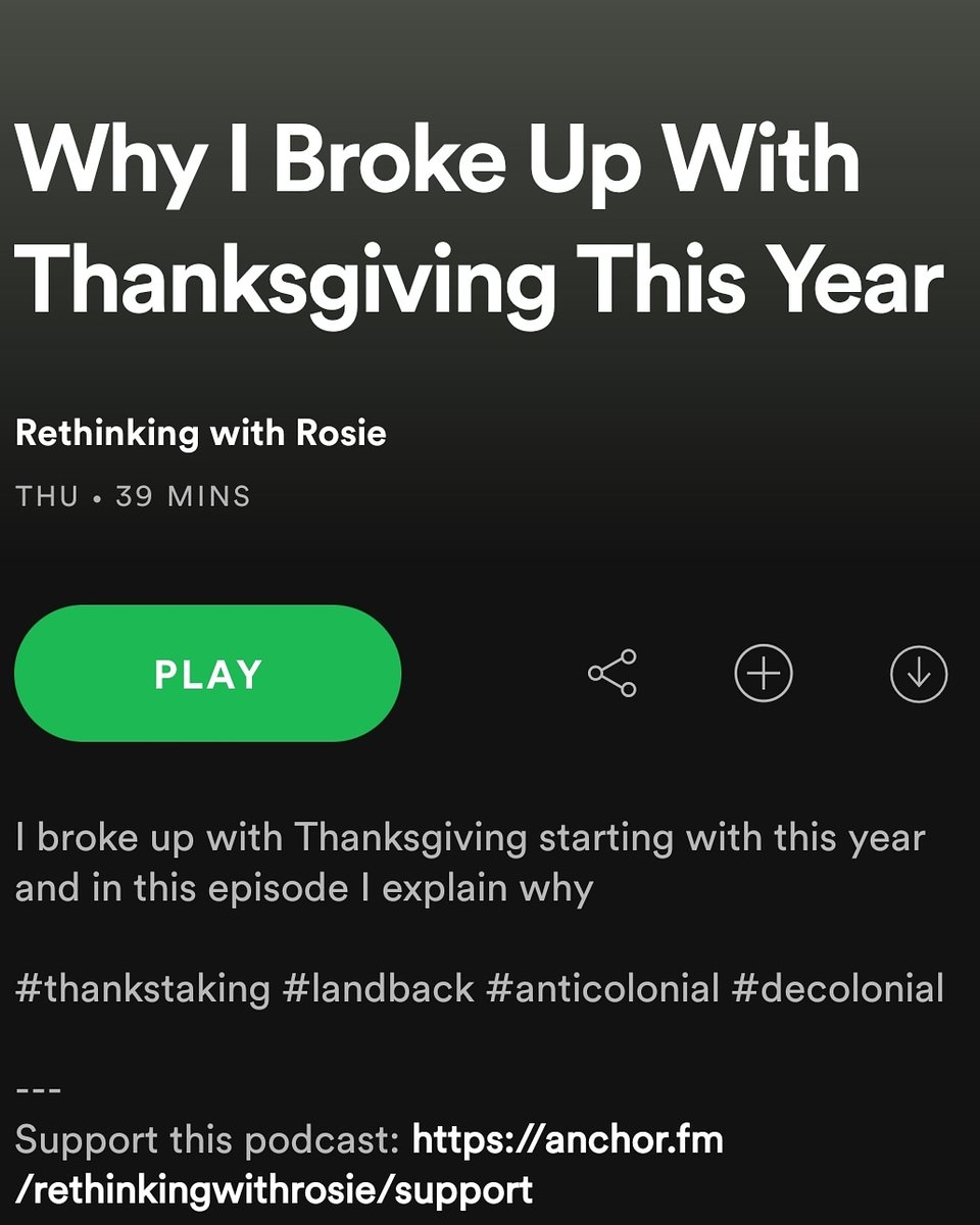 In case you missed it, I created a new podcast episode on Thursday!   #thankstaking #nothanksnogiving  #nationaldayofmourning #nativeamericanhistorymonth #nativeamerican #Indigenous  #anticolonialism #anticolonial #decolonize #indigenoussovereignty #landback  #settlercolonialism