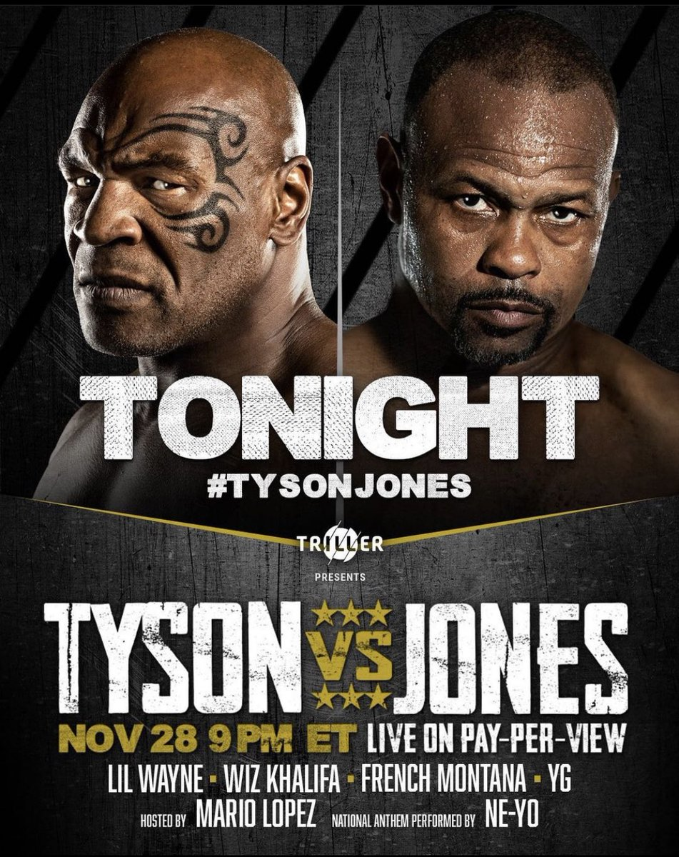 You guys make sure to watch these two legends throw down tonight only on Pay-Per-View! The return of uncle @miketyson will be legendary! Don't blink! 🏆🏆🏆 https://t.co/SEvtaxUPQW
