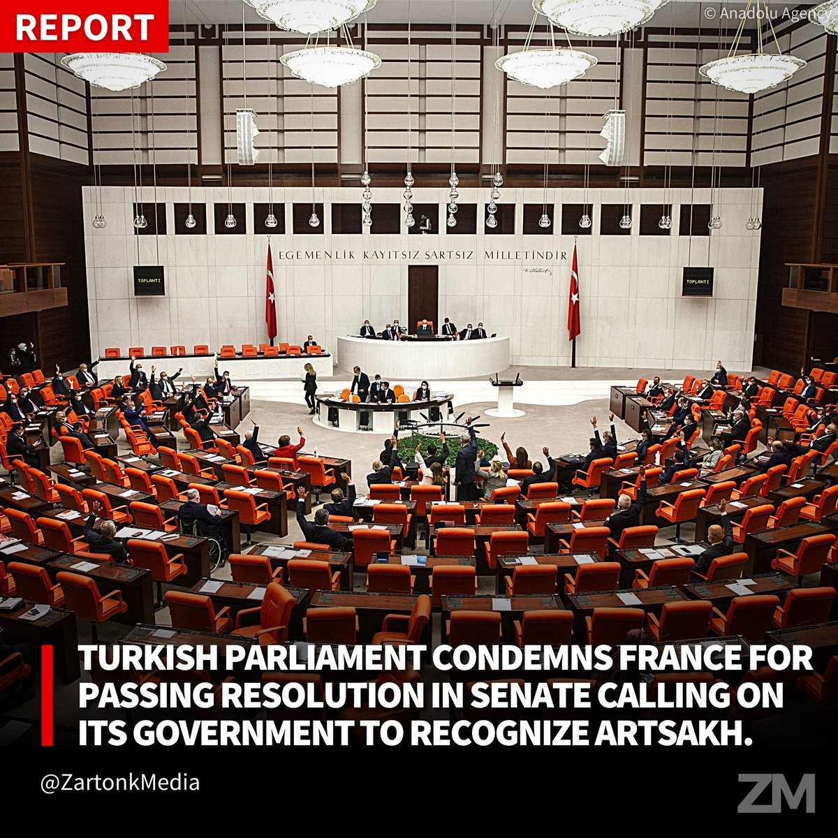 Turkish Parliament Condemns France For Passing Resolution In Senate Calling On Its Government To Recognize Artsakh. https://t.co/Zhr2KeMbM8