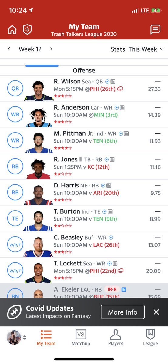 @ESPNFantasy @MatthewBerryTMR @FieldYates #FFNow #FanatasyPlus  How can I have it all? Ekeler last minute showtime, Corey Davis against a great defense.