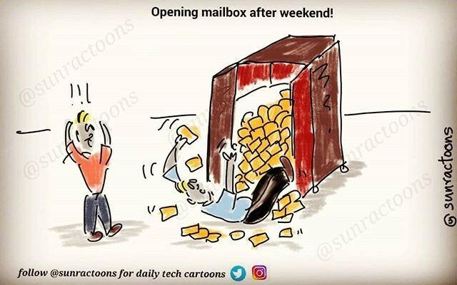 #RT @sunractoons: Emails after long weekend!  #cartoon #dailycartoon #sunractoons #developerlife #programmerlife #100daysofcode @sunractoons #development #coding #codingmemes #codinglife #developer  #smile #lol #webtoons #programmingmemes #programmer #No… https://t.co/1Mo3gbbxbL