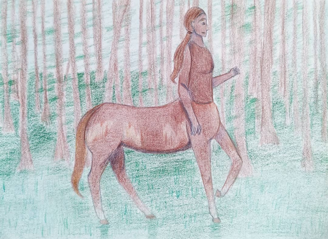 oh to be a centaur trotting through a forest 🐴✨#TraditionalArt #centaur  #colorpencils #fantasy #magical #art #ArtistOnTwitter #forest #brown #drawing https://t.co/RG67dZ8Ill
