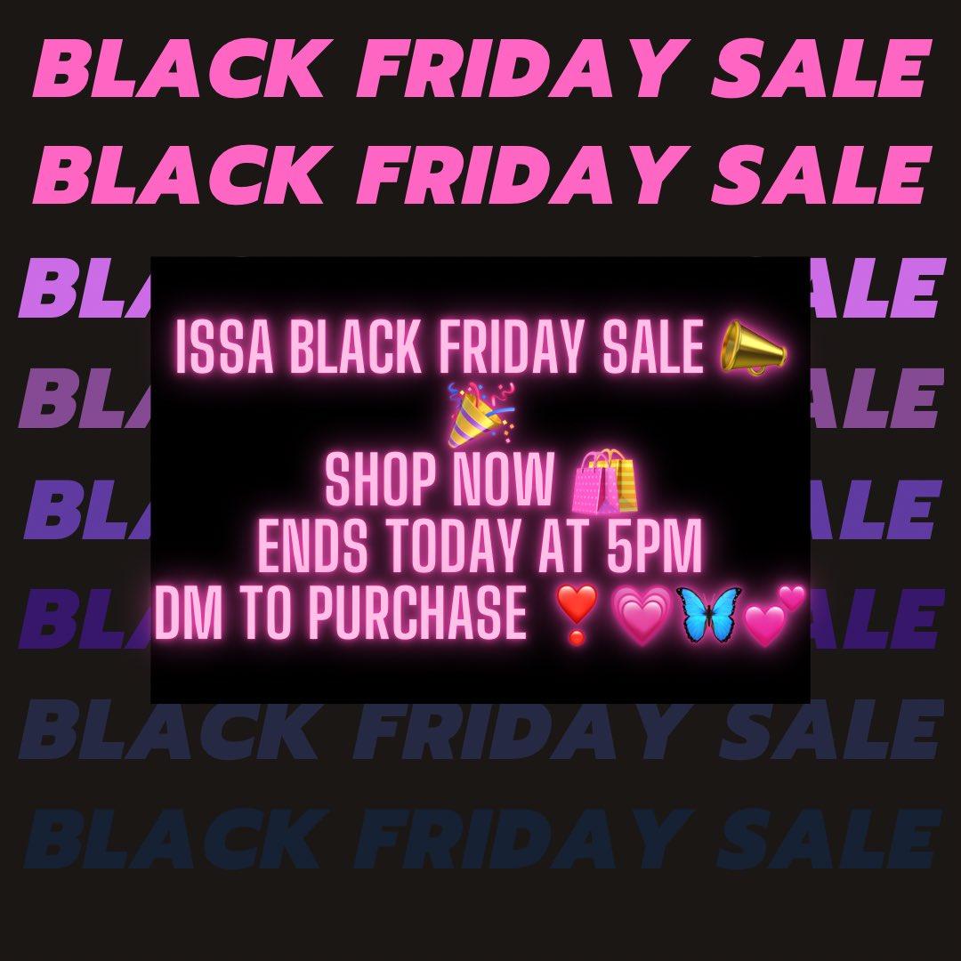 Issa Black Friday Sale 📣🎉 Shop Now 🛍 @PluggBae 💗🦋💕 #blackfriday #BlackFridayAmazon #BlackOwnedBusinesses #Trending #explore #explorepage #viral #shopsmall #SupportBlackOwnedBusinesses #SUPERJUNIOR #WELOVEYOULUCAS #YogiAdityanath #ARGvNZL #NCT127 #CardiB #DRIPPIN https://t.co/NKDKrzlqD8