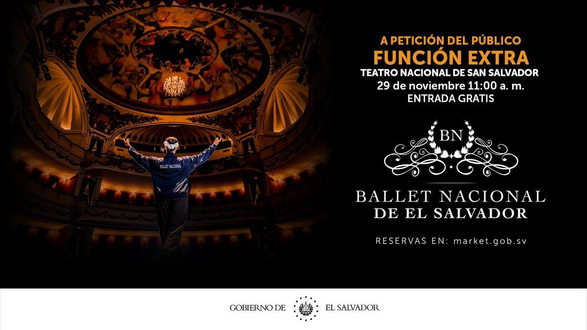 A petición del público hemos habilitado una función extra del Ballet Nacional de El Salvador.  Mañana Domingo, a las 11:00 a.m. en el Teatro Nacional de El Salvador.   Has tus reservas en https://t.co/Wzvej4ATPv.  ¡Entrada gratis! https://t.co/rOTwDy3bhf