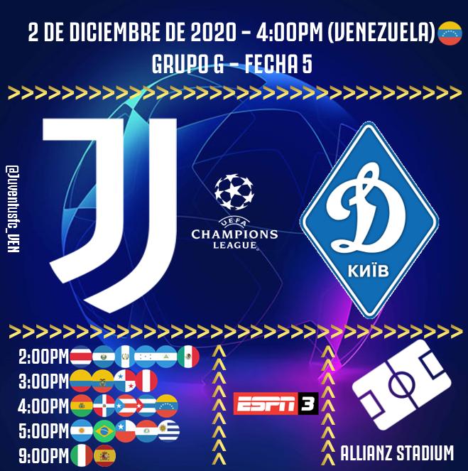 ⚽️ #JUVENTUS 🆚 #DynamoKiev 🏟 #AllianzStadium 🇮🇹 🗓 2-12-2020 4:00pm (🇻🇪) 🏆 Grupo G de #UCL 📺 ESPN 3 💻📱 Streaming #JuveDynamo