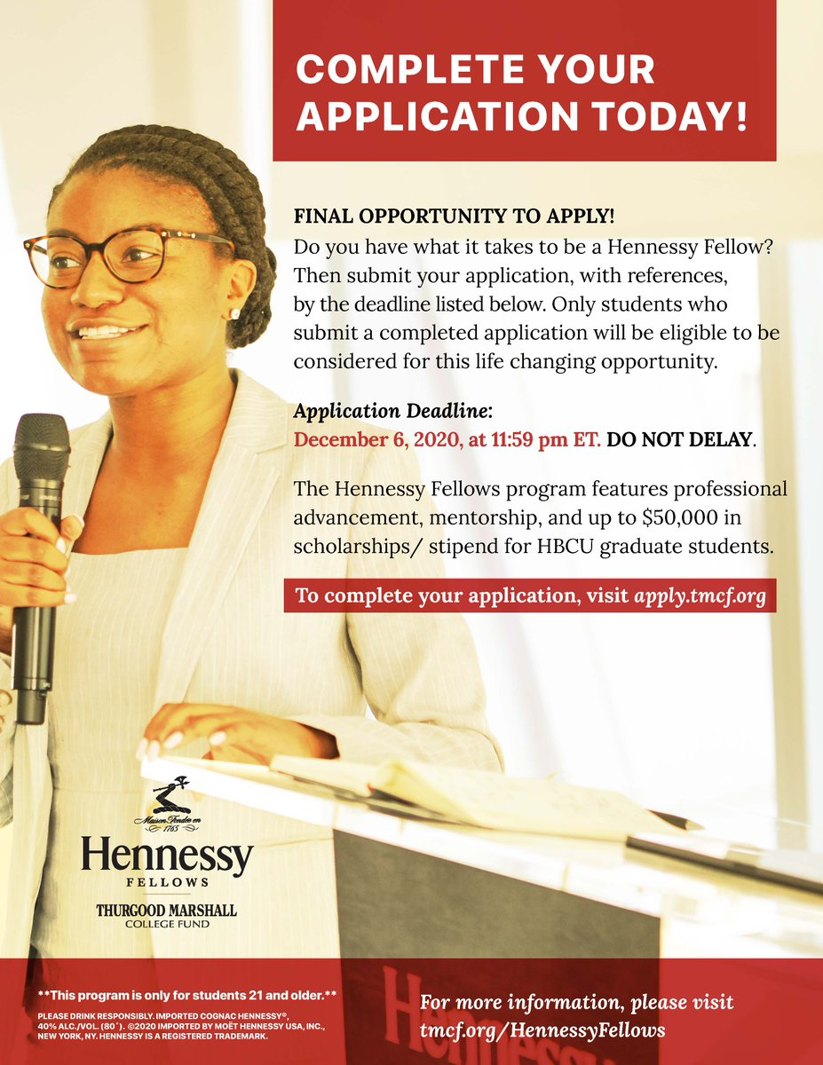 The deadline for the #hennessyfellows program is quickly approaching...11:59PM on December 6, 2020!  Get your application in for an opportunity of a lifetime!