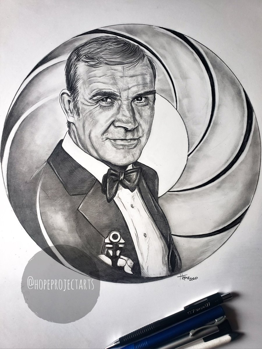 My drawing of Sean Connery as James Bond.  #hopeprojectarts #SeanConnery #JamesBond