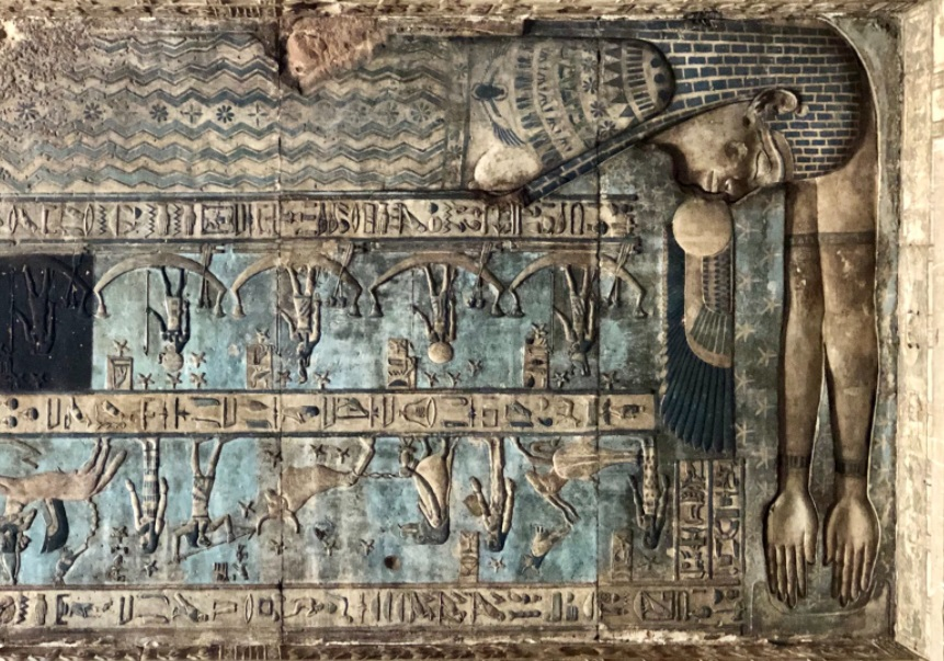 #MuseumsUnlocked 124: #Dusk and #Night. Here is the ancient Egyptian goddess Nut (Nwt),goddess of the (night) sky, swallowing the sun, as myth said she does every evening, giving birth to the sun again on the next day. Depiction:  ceiling of the temple of Hathor in Dendera.
