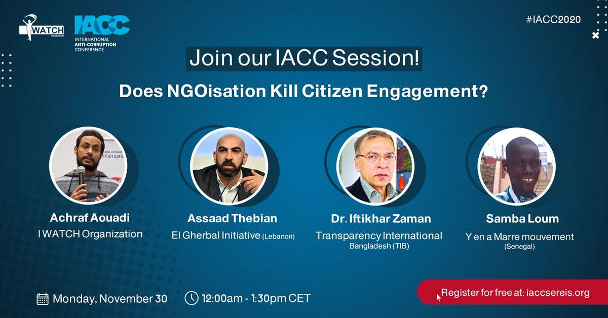 """📣 Join our live session in the International Anti-Corruption Conference.  """"Does NGOiaztion kill Citizen Engagement?"""" 🤔 Monday, December 30th, 12-1.30 pm CET  https://t.co/z3BefRRDGU Please make sure to register first: https://t.co/QnWjF5AX4s #IACC2020 https://t.co/xjJCc86CYe"""